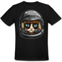 Футболка Fat Cat Grumpy Cat Astronaut (чёрная) XXL