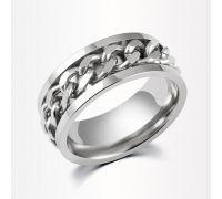 Кольцо с крутящейся цепью (серая цепь)