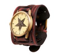 Часы с кожаным ремешком (звезда) [бордовые]