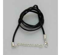 Шнурок кожаный на застежке (50 см) чёрный