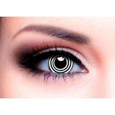 Линзы контактные карнавальные черная спираль + контейнер в ПОДАРОК