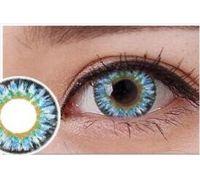 Линзы контактные голубые яркие (подходят для тёмных глаз) + контейнер в ПОДАРОК