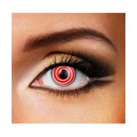 Линзы контактные карнавальные красная спираль + контейнер в ПОДАРОК
