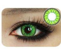 Линзы контактные зелёные яркие (подходит для темных лаз) + контейнер в ПОДАРОК