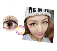 Линзы контактные жёлто-розовые блики (подходят для тёмных глаз) + контейнер в ПОДАРОК