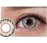 Линзы контактные жёлто-розовые (подходят для тёмных глаз) + контейнер в ПОДАРОК