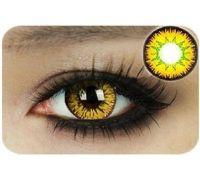Линзы контактные желто-зелёные (подходит для темных лаз) + контейнер в ПОДАРОК
