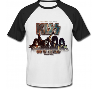Футболка Kiss - End Of The Road - World Tour (белая с чёрными рукавами)